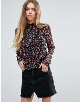Floral High Neck Victorianna Blouse