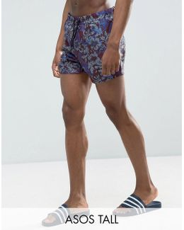 Tall Swim Shorts With Paisley Baroque Print In Short Length