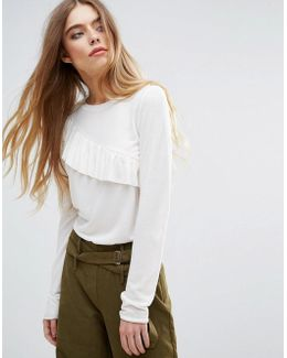 Long Sleeve Top With Frill Detail