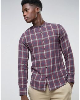 Check Flannel Shirt With Granddad Collar