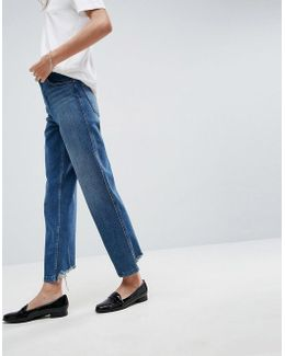 Farleigh High Waisted Straight Leg Jeans In Mid Blue Wash