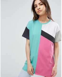 Oversized T-shirt In 80s Color Block