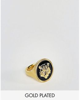 Tiger Sovereign Ring In Gold Plated