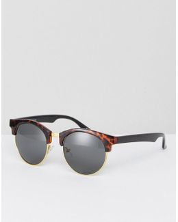 Rounded Retro Sunglasses In Black With Tort Arms