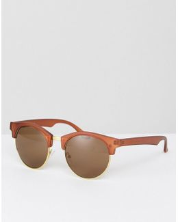 Rounded Retro Sunglasses In Matte Brown