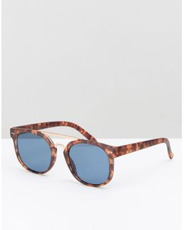 Square Sunglasses In Matte Tort With Rose Gold Brow Bar