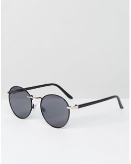 Round Sunglasses In Black Metal With Gold Details