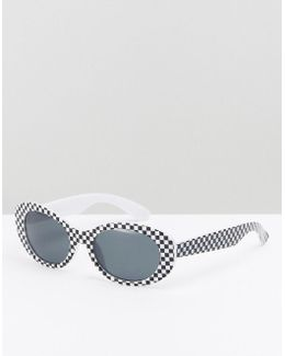 Oval Sunglasses In Black With Chequerboard Design