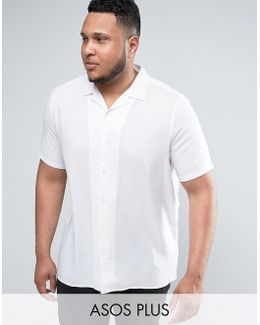 Plus Oversized Viscose Shirt With Revere Collar In White