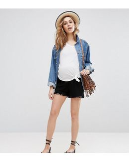 Shorts With Pom Pom Hem