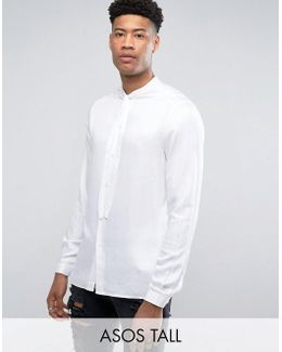 Tall Regular Fit Shirt In White With Pussy Bow