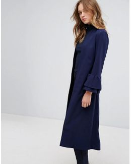 Longline Duster With Frill Sleeve