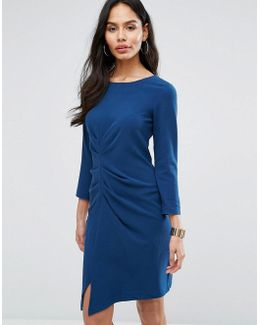 3/4 Sleeve Ruched Front Pencil Dress
