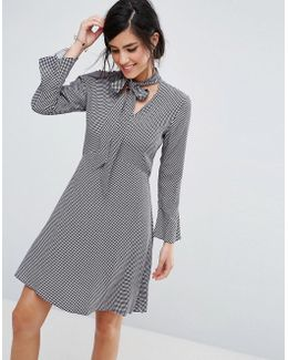 Shirt Dress With Tie Neck Detail