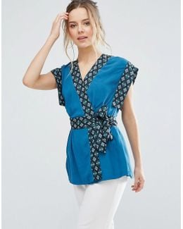 Belted Kimono Top With Contrast Trim