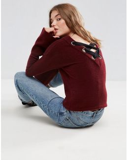Sweater With Lace Up Back Detail
