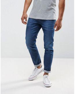 Anbass Stretch Slim Jeans Mid Wash Metal Blast