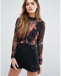 Floral Mesh Ruffle Top