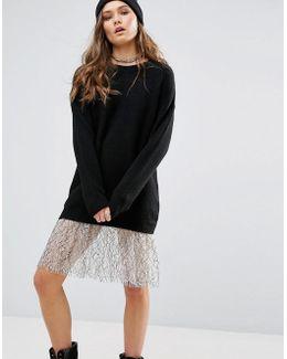 Lace Trim Longline Sweater Dress