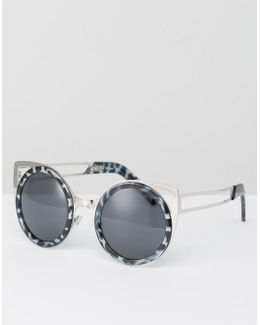 Round Sunglasses With Brow Bar