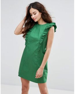 High Neck Dress With Frills
