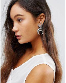 Double Crescent Hook Drop Earrings