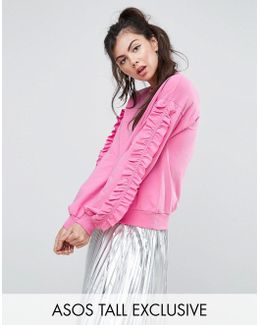Sweat Top With Ruffle Sleeve Detail