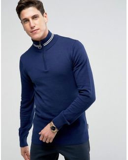 Half Zip Track Jumper With Tipping