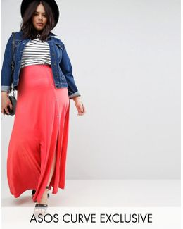Maxi Skirt With Asymmetric Poppers & Split