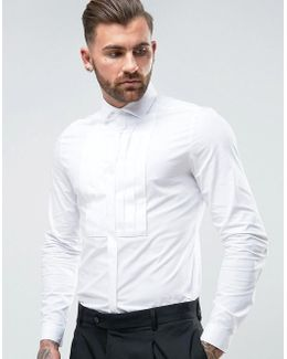 Wedding Slim Shirt With Stretch And Pleat Bib