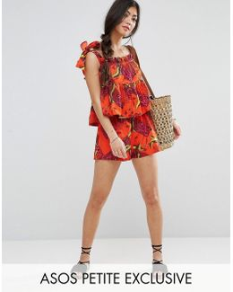 Exclusive Tropical Print Short Co-ord