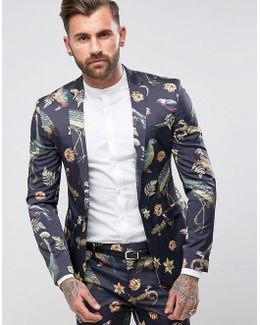 Super Skinny Suit Jacket With Birds Of Paradise Print