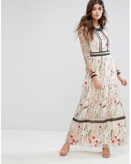 Premium Embroidered Lace Detail Maxi Dress