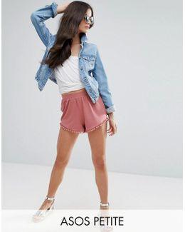 Shorts With Pom Pom Hem