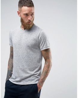 Longline T-shirt With Curved Hem In Linen Mix
