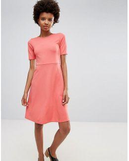 Short Sleeve Fit & Flare Dress