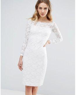 Lace Bardot Bodycon Dress