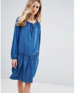 Bell Sleeve Smock Denim Dress