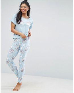 Unicorn In Rainbows Tee & Legging Pyjama Set
