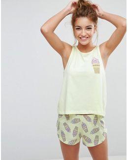 Ice Cream Tank & Short Pajama Set