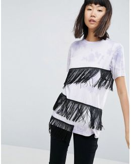 T-shirt In Tie Dye With Fringe Detail