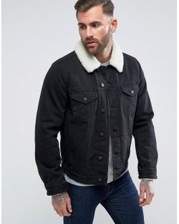 Denim Jacket With Fleece Collar In Black Wash