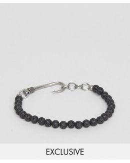 Beaded Hook Bracelet In Black