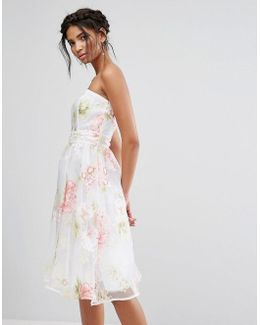 Bandeau Midi Dress In Floral Organza