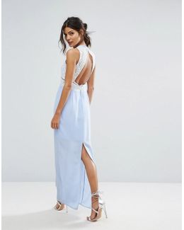 Contrast Lace Maxi Dress With Open Back