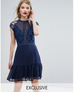 Lace Contrast Mini Dress With Pep Hem