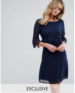 Swing Dress With Eyelash Trim