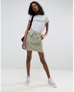 Utility Mini Skirt With Circle Trim Belt