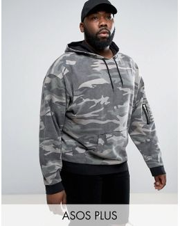 Plus Oversized Hoodie In Washed Camo