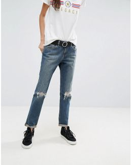 Kimmi Shrunken Boyfriend Jeans In Misty Aged Vintage Wash With Busts And Rips